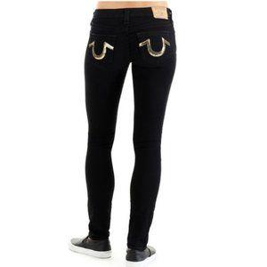 True Religion Skinny Jeans Gold Sequin Pocket Logo